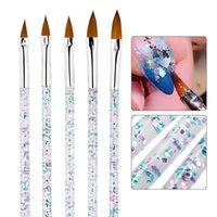 120 개 세트 조각 드로잉 펜 매니큐어 도구 페인팅 브러시 크리스탈 아크릴 UV 젤 브러쉬 스트라이프 꽃 회화 5PCS / 세트 네일 아트를