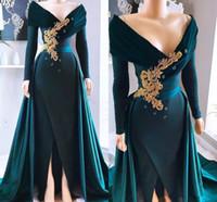 Hunter Green Satin Lange Ärmel Mermaid Prom Kleider 2021 Perlen Applique V-ausschnitt formale Party Kleider Front Split Abendkleid Promi
