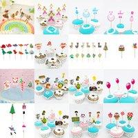 Vente en gros 16 Styles Caertoon Cupcake Topper Flower Fairy Cupcake Toppers Picks pour décorations d'anniversaire Décoration de la fête Accueil Décoration de gâteau