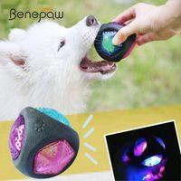 الكلب اللعب يمضغ benepaw مرونة فلاش أدى الكرة المطاط دائم لدغة مقاومة تفاعلية كبيرة كبيرة الحيوانات الأليفة آمنة الصوت squeaker لعبة