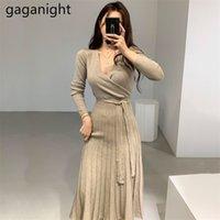 Gaganight Щивать женские женские вязаные BodyCon Maxi платье с длинным рукавом V шея стройная леди шикарный корейский платье осень зима сплошных Vestidos 201204