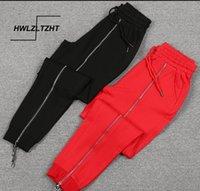 HWLZLTZHT Artı boyutu Harem Kadınlar Fermuar Elastik Bel Pamuk Koşu Yüksek Wasit Sweatpants Baggy Kalem Pantolon 201012