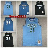 Vintage Mens 21 Kevin Garnett Mitchell Ness Swingman Basketbol Jersey Retro Mesh Klasik Dikişli Minnesotan Logolu Sadece Don Şort