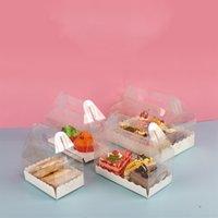 Прозрачный торт Ролл Упаковка Коробка с ручкой Экологичные прозрачный пластиковый Cheese Cake Box выпечки рулет Box T500435