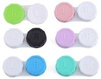 Nueva Popuplar colorido Contacto Caja de lente encantadora colorido de doble caja de la caja de lente doble remojo Caso libre Epacket
