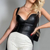 Cuoio nero della cinghia di spaghetti Tank Top Women Backless sexy corsetto sexy Crop Tops Femme Harajuku Streetwear base Tee