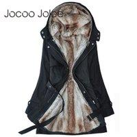 Jocoo Jolee invierno de las mujeres de la chaqueta capa ocasional caliente básica con capucha de piel falsa chaqueta delgada de manga larga feminina Parkas 201013