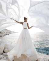 Vestidos de Noiva 2021 Bohemian Hippie Estilo Praia A-Linha Vestido De Noiva Vestidos De Noiva Backless High Neck Branco Fita Chiffon Boho