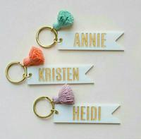 Mode européen et américain Porte-clés de monogramme acrylique personnalisé Blank Nom personnalisé Pendentif porte-clés Tassel