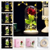 Rose dura para siempre con luces LED en el día de cristal Día de San Valentín Aniversario de boda Regalos de cumpleaños Decoración de fiesta 5 colores Envío gratis