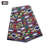 ACI Africano Kente Tecido 6 jardas / Peça Nova Moda Ankara Tecido Africano Real Cera Imprime Tissu Africain Gana Cabana Impressões Tecido T200810