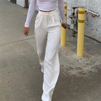 Yuqung Femmes High Taille Fit Pantalon long Pantalon Femelle Streetwear Casual Capris Capris Femme Bureau Blanc Dame Traveux Pantalons longs 201031