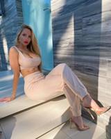 섹시한 여성 2 조각 세트 민소매 리브 두 조각 복장 자르기 탑과 긴 바지 플러스 사이즈 캐주얼 일치하는 Tacksuit homewear # GW7G