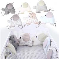 6pcs / 세트 코튼 유아 방 아기 침대 범퍼 크래들 보호자 울타리 박제 코튼 코끼리 침구 침구 Bumper Baby Bedding1