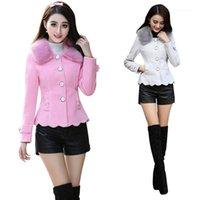 Women's Laine mélange manteau d'hiver Femmes rose de bonne qualité collier de fourrure arc mince short d'aller-page à manches longues CHAQUETA MUJER C913911