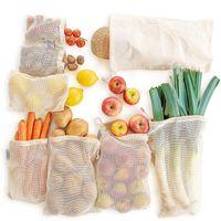 حقائب إنتاج قابلة لإعادة الاستخدام القطن الطبيعي شبكة صفر نفايات القطن العضوي شبكة إنتاج الخضار حقيبة قابل للغسل الرباط