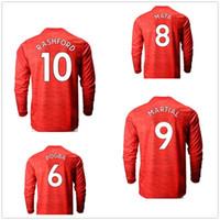 20-21 Manica lunga Casa 18 B.fernandes Rashford 10 Thai Quality Soccer Jerseys Camicia Uomo personalizzato 9 Martial 21 5 Maguire Wear Soccer Wear