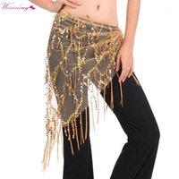 WeixInbuy новый танец живота костюм танцульки бедра племенные треугольники кисточка золотые блестки танцы1