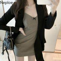 Kadın Takım Elbise Blazers Neploe Çalışma Tarzı Ofis Bayan Blazer Mujer AŞAĞı Yaka Uzun Kollu Lace Up Yay Tasarım Casao Ince Siyah Coat 202