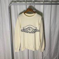 Europa Mulheres e Mens Designer Sweaters Retro Luxo Clássico Suéter Homens Braço Carta Bordado Bordado Redondo Jumper Confortável de Alta Qualidade