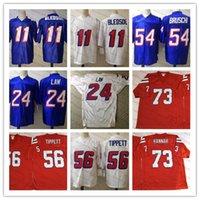 Mens # 56 Andre Tippett Vintage Futbol Forması Dikişli Beyaz Mavi # 73 John Hannah # 11 Drew Bledsoe 24 Ty Law 54 Tedy Bruschi Jersey S-3XL
