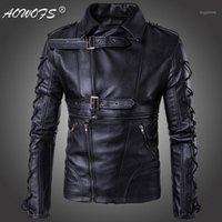 Herrenfell Faux AOWOFS Degisn Europe und Amerika Mode Motorrad Lederjacke Große Größe 5XL Schwarz Jaket Marke Männer Jacken Mäntel1