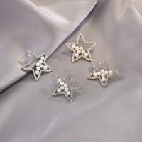 Pendientes de cinco puntas Pendientes de imitación Perla Rhinestone Ear Studs Alloy Silver Gold Patted Women Stud Fashion Jewelry 2 3SFH L2