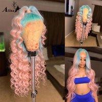 옹 브레 컬러 핑크 블루 느슨한 깊은 파도 인간의 머리 가발 Pre Plucked Bleack 매듭 Remy Lace 정면 가발 HD 투명한 폐쇄