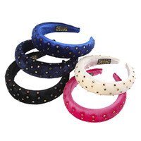 Padded Headband For Women Flannel Hairbands With Small Colorful Crystal Beads Thickened Sponge Bezel Hair Accessories