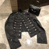 Boho Askeri-Style Denim Ceket siyah düğmeleri şık ceket ceket kadın rahat ceket kadın kış chaqueta 201.013 yemeğe esinlenerek