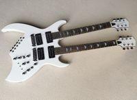 Белая необычная форма 12 + 6 строк двойной шея электрогитара с Humbuckers пикапами, палисандр Гриф
