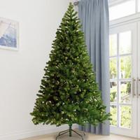 US Stock 3-5 Dagsleverans Förlyst Julgran 7.5ft Artificial Hinged Xmas Tree med 400 Pre-Strung LED-lampor Fällbara stativ