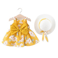 New Arrival Summer Girl Dress Bow Printed Pure Cotton Prince...