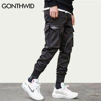 Gonthwid fita fivela multi-bolsos harem corredores calças streetwear homens hip hop casual carga calça calças calças macho 201112