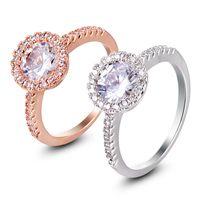 뜨거운 숙녀 고품질 반지 보석 반지 마이크로 인레이 지르콘 로즈 골드 화이트 골드 링 쥬얼리 패션 다이아몬드 반지