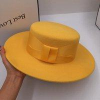Stingy Brim Şapkalar Fedoras Kış Yünü Kadınlar için Sarı Boyunca Düz
