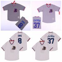 1988 Bull Durham 37 Nuke LaLoosh Jersey Homens Baseball 8 Bater Davis cor da equipe Grey pulôver branco Arrefecer base costurado Top Quality