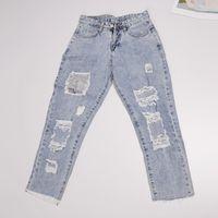 Baggy Jeans Kadın Sequins Süslemeleri Delik Püskül Ayak Bileği Uzunlukta Düz Pantolon Bahar Açık Rahat Vintage Jeans