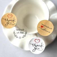 شكرا لك اليدوية ذاتية اللصق ختم ملصقات كرافت التسمية ملصقا diy اليد صنع هدية كعكة حلوى ورقة العلامات 160pcs / lot1