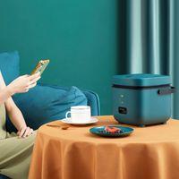 مصغرة طنجرة الأرز الكهربائية الفولاذ المقاوم للصدأ 2 طبقات باخرة وجبة المحمولة التدفئة الحرارية الغداء صندوق الغذاء حاوية أدفأ