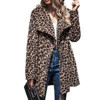 Kadınlar Leopard Print Sahte Kürk Palto Sonbahar Kış Sıcak Kalın Kürk Ceket Kadın Kabarık Peluş Dış Giyim Moda Slim Fit Palto