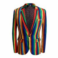 Timesunion 2020 Neue Herren Bunte Streifen Druck Blazer Design Plus Größe Stilvolle lässige männliche Slim Fit Anzug Jacke Sänger Prom Coat1
