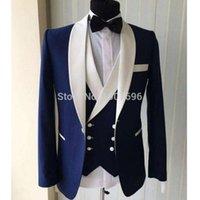 Abiti da uomo Blazers Blu Slim Fit Uomo per Matrimonio Prom Groom Tuxedos Double Bresed Gilet Gilet Scialle Risvolto 3 pezzi Giacca Pantaloni Gilet