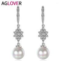 Diğer Agover 4.2 cm Moda S925 Ayar Gümüş Küpe Güneş Çiçek Inci Kolye Charm Kadın Düğün Takı Gift1 için