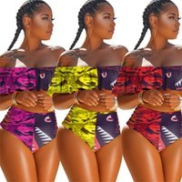 S-4XL 여름 수영복 디자이너 Womens Strapless 비키니 세트 수영복 플레이어 브래지어 + 반바지 상어 얼굴 해변 수영 수영복 H12105