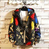 Fashion Brand Spring Autumn Men Casual Streetwear Floral Hoodie Jacket Man Clothes Mens Windbreaker Coat Male Outwear1