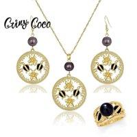 Collar de tortuga de oro hawaiano Conjuntos Pendientes Moda Anillo Polinesio Pearl Frangipani Conjuntos de joyería para mujer Joyería Conjunto Nuevo 201222