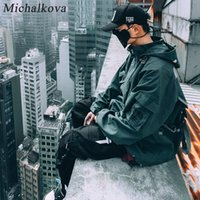 Michalkova Fuerza Aérea Volando Funcional Streamer Hip Hop Flow Dark Coat Men's Japanese Original Night Wind Streamer 201226