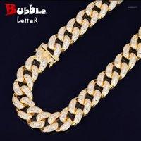 "22mm Baguette Zircon Miami Cuban Link Necklace Choker Iced Out Hombre Hip Hop Street Rock Rock Joyería Color de oro Cadena 16 ""18"" 1"