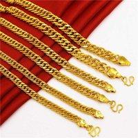 Ketten reine goldfarbe langkette halskette für frauen / männer, plattiert 24k 8mm / 10m / 12mm stärker link männer 60cm lang1
